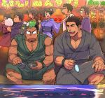1girl 6+boys ^_^ bara bare_shoulders blush chest closed_eyes couple cow_mask facial_hair feet_out_of_frame festival fish goatee green_kimono grey_kimono horkeu_kamui_(tokyo_houkago_summoners) japanese_clothes kengo_(tokyo_houkago_summoners) kimono laughing male_focus mask mask_removed master_1_(tokyo_houkago_summoners) master_2_(tokyo_houkago_summoners) master_3_(tokyo_houkago_summoners) master_4_(tokyo_houkago_summoners) master_5_(tokyo_houkago_summoners) multicolored_hair multiple_boys muscle open_clothes open_kimono shiro_(tokyo_houkago_summoners) short_hair sketch sleeves_rolled_up sweatdrop taurus_mask tokyo_houkago_summoners two-tone_hair water white_background yakisoba_ohmori