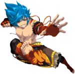 1boy bandaged_hands bandaged_leg bandages blue_hair brown_eyes fighting_stance fist kicking mini_fighter official_art shirtless smile spiky_hair teeth tom_(mini_fighter)