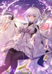1girl ahoge black_gloves black_legwear blush dress fate/grand_order fate_(series) fingerless_gloves gloves highres holding holding_staff leggings long_hair looking_at_viewer merlin_(fate/prototype) petals pointy_ears silver_hair smile solo staff twitter_username very_long_hair violet_eyes white_dress wide_sleeves yuzushiro