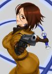 1girl anagumasan ass brown_eyes brown_hair earrings elbow_gloves gloves gun heart heart_earrings highres jewelry looking_at_viewer military military_uniform pointing short_hair solo the_king_of_fighters twisted_torso uniform weapon whip whip_(kof)