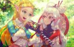 2girls :d black_gloves blonde_hair blue_eyes blue_shirt bodysuit bodysuit_under_clothes chichi_band commentary_request eye_symbol fingerless_gloves forehead_tattoo gloves grey_shirt hair_ornament hair_stick hairclip hyrule_warriors:_age_of_calamity impa long_hair multiple_girls open_mouth pointy_ears princess_zelda red_eyes sheikah sheikah_slate shirt silver_hair smile the_legend_of_zelda the_legend_of_zelda:_breath_of_the_wild upper_body
