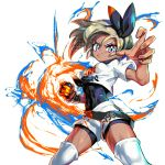 1girl aura bea_(pokemon) bodysuit breasts colorful dark_skin dedeen frown gloves grey_hair gym_leader hairband looking_at_viewer pokemon pokemon_(game) pokemon_swsh punching shorts single_glove small_breasts solo toned