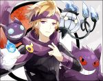 1boy black_sweater blonde_hair chandelure commentary_request gen_1_pokemon gen_3_pokemon gen_5_pokemon gengar hand_up headband holding holding_clothes holding_scarf litwick long_sleeves morty_(pokemon) parted_lips pokemon pokemon_(creature) pokemon_(game) pokemon_hgss purple_headband purple_scarf ribbed_sweater sableye scarf sweater upper_body waltz_(tram)