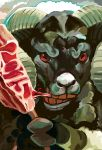 animal_focus cannibalism chinese_zodiac eating goat horizontal_pupils horns looking_at_viewer nengajou new_year nishimawari_kouro no_humans original red_eyes solo year_of_the_goat