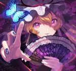 1girl absurdres artist_name bangs blonde_hair blue_butterfly blue_nails bug butterfly colored_eyelashes eyebrows_behind_hair face fan fingernails floating_hair folding_fan frills gap_(touhou) glowing_butterfly hair_between_eyes hat hat_ribbon highres huge_filesize insect lace_trim light_particles long_hair long_sleeves looking_at_object looking_up mob_cap nail_polish open_mouth pink_ribbon purple_butterfly reaching reflective_eyes ribbon scan scan_artifacts signature smile solo surumeri_(baneiro) touhou transparent_butterfly white_headwear yakumo_yukari