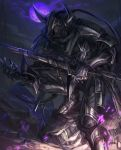 1boy armor bad_id bad_pixiv_id black_armor full_moon gauntlets glowing glowing_eyes greaves helmet highres holding holding_sword holding_weapon horned_helmet left-handed long_hair looking_at_viewer moon night original pauldrons ponytail purple_moon sheath sheathed shichigatsu shoulder_armor solo sword violet_eyes weapon