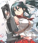 1girl aa_gun adapted_turret armpits between_breasts bow breasts bullpup crop_top detached_sleeves gradient gradient_background green_eyes green_hair gun hair_between_eyes hair_bow hand_up highres holding holding_gun holding_weapon isuzu_(kantai_collection) kantai_collection long_hair looking_back looking_to_the_side medium_breasts navel neckerchief parted_lips red_skirt rigging sailor_collar shide shirt signature skirt sleeveless sleeveless_shirt solo splashing strap_between_breasts sunday_aki trigger_discipline twintails upper_body very_long_hair water_drop weapon white_bow