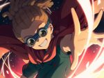 1boy :d brown_hair cape commentary_request goggles green_shirt grin hairlocs highres inazuma_eleven inazuma_eleven_(series) kidou_yuuto looking_at_viewer male_focus open_mouth outstretched_arm red_cape sayshownen shirt short_hair smile solo upper_body