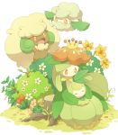 :d bush closed_eyes commentary_request cottonee flower gen_5_pokemon grass hands_up jippe lilligant no_humans open_mouth orange_eyes petilil pokemon pokemon_(creature) sitting sleeping smile tongue tree_stump whimsicott yellow_flower