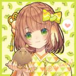 1girl :3 animal bird bob_cut border bow braid brown_hair crown_braid earrings eyebrows_visible_through_hair feathers food fruit green_background green_border green_eyes green_nails hair_bow hair_feathers hair_ornament heart holding holding_animal holding_bird japanese_clothes jewelry kimono kiwi kiwifruit looking_at_another multicolored multicolored_nails n_kamui orange_nails original print_kimono ring short_hair smile solo speech_bubble spoken_heart symbol_commentary twitter_username