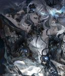 1girl android arms_behind_head bad_id bad_pixiv_id cracked_skin d: damaged dress glowing glowing_eyes hair_between_eyes highres light_trail long_hair looking_at_viewer open_mouth original ringed_eyes shichigatsu silver_hair solo tears white_dress white_eyes white_skin
