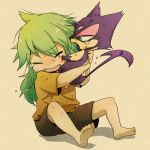 1boy bangs barefoot blood blood_on_face brown_shorts closed_eyes commentary_request eyebrows_visible_through_hair gen_5_pokemon green_hair holding holding_pokemon long_hair lowres n_(pokemon) pokemon pokemon_(creature) pokemon_(game) pokemon_bw purrloin scratches shirt short_sleeves shorts sitting soles tearing_up toes toko younger