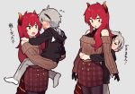 1boy 1girl age_difference artist_request child commentary grey_background holding original redhead size_difference translation_request