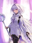 1girl ahoge bangs black_gloves black_pants breasts fate/grand_order fate/prototype fate_(series) fingerless_gloves gloves holding holding_staff long_hair long_sleeves looking_at_viewer medium_breasts merlin_(fate/prototype) muwon pants petals smile staff thighs very_long_hair violet_eyes white_hair white_robe wide_sleeves