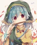 1girl apron aqua_ribbon arm_ribbon bangs blue_hair blush breasts brown_eyes chisel closed_mouth commentary_request dated eyebrows_visible_through_hair eyes_visible_through_hair green_apron green_headwear haniyasushin_keiki head_scarf highres holding juliet_sleeves long_hair long_sleeves looking_at_viewer magatama_necklace medium_breasts mina_(sio0616) puffy_sleeves ribbon shirt simple_background single_strap smile smock solo touhou turtleneck upper_body white_background yellow_shirt
