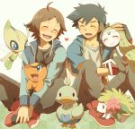 2boys ahoge ash_ketchum black_gloves black_hair blush brown_hair celebi closed_eyes commentary_request cyaneko ducklett fingerless_gloves gen_2_pokemon gen_4_pokemon gen_5_pokemon gloves hilbert_(pokemon) holding holding_pokemon jacket long_sleeves meloetta multiple_boys mythical_pokemon open_mouth pants pokemon pokemon_(anime) pokemon_(creature) pokemon_(game) pokemon_bw pokemon_bw_(anime) red_footwear shaymin shoes smile teeth tepig tongue
