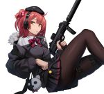 1girl ahoge bangs beret black_legwear breasts candy cero_(last2stage) food fur_trim girls_frontline gun h&k_mp7 hair_ornament hat headphones highres holding jacket knee_up lollipop looking_at_viewer medium_breasts mp7_(girls_frontline) one_side_up pantyhose ponytail redhead shirt simple_background skirt solo submachine_gun suppressor thigh_strap weapon white_background yellow_eyes