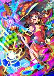 1girl :d aura belt capelet choker cloak colorful dedeen explosion hat highres kono_subarashii_sekai_ni_shukufuku_wo! megumin multicolored multicolored_background open_mouth red_eyes smile staff