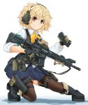 1girl ar-15 armband assault_rifle bangs black_footwear blonde_hair blouse blue_skirt boots bow bowtie brown_legwear bulletproof_vest closed_mouth collared_blouse commentary_request eyebrows_visible_through_hair gloves green_gloves gun handgun headphones highres holding holster long_sleeves looking_at_viewer magazine_(weapon) messy_hair mikeran_(mikelan) miniskirt one_knee orange_eyes original pleated_skirt rifle school_uniform shadow short_hair simple_background skirt sleeve_rolled_up smile solo thigh-highs thigh_holster thigh_pouch thigh_strap trigger_discipline v-shaped_eyebrows weapon white_background white_blouse wing_collar yellow_neckwear