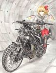 artist_name black_legwear blonde_hair boots brown_gloves colored_pencil_(medium) expressionless flandre_scarlet gloves ground_vehicle hair_ribbon highres hood hood_down husqvarna husqvarna_svartpilen_401 looking_to_the_side motor_vehicle motorcycle no_hat no_headwear one_side_up pantyhose red_eyes red_skirt ribbon rpracing short_hair signature skirt touhou traditional_media tunnel white_hoodie wings