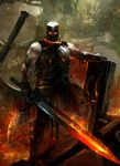 1boy armor biceps breastplate dark_souls embers fire full_body gauntlets glowing glowing_eyes glowing_weapon greatsword greaves helmet highres holding holding_sword holding_weapon iron_tarkus kekai_kotaki knight looking_at_viewer male_focus muscle outdoors ruins shield solo souls_(from_software) standing sword weapon