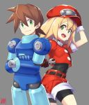 1boy 1girl bike_shorts blonde_hair breasts brown_hair cabbie_hat closed_mouth gloves goemon1110 green_eyes hat highres long_hair looking_at_viewer open_mouth red_shorts rock_volnutt rockman rockman_dash roll_caskett shorts simple_background small_breasts smile