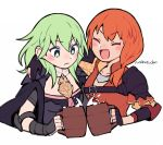 2girls artist_name byleth_(fire_emblem) byleth_(fire_emblem)_(female) closed_eyes closed_mouth do_m_kaeru fingerless_gloves fire_emblem fire_emblem:_three_houses gloves green_eyes green_hair holding leonie_pinelli multiple_girls open_mouth orange_hair simple_background upper_body white_background