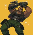 1boy absurdres alejandro_tio amputee armpit_hair armpits bara bare_shoulders barret_wallace beard belt black_tank_top bulge camouflage camouflage_pants chest chest_hair cowboy_shot dark_skin dark_skinned_male dynamic_pose facial_hair feet_out_of_frame fighting_stance final_fantasy final_fantasy_vii green_pants harness highres leaning_back male_focus manly muscle pants short_hair sleeveless solo sunglasses tank_top thick_thighs thighs tight tight_pants