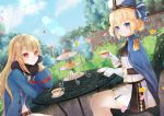2girls arch ascot azur_lane bangs belt black_gloves black_neckwear black_scarf blonde_hair blue_cape blue_coat blue_eyes blue_headwear blue_sky braid brick_wall brown_belt bush cake cake_slice cape chair clouds coat commentary_request crossed_bangs cup day dutch_angle epaulettes food garden glint gloves hair_between_eyes hair_ornament hardy_(azur_lane) hat head_rest highres holding holding_cup hunter_(azur_lane) lens_flare light_brown_hair long_hair long_sleeves looking_at_viewer midriff military_hat multiple_girls navel no_headwear ougi_(u_to4410) outdoors petals plant plate red_eyes ribbon sandwich scarf shirt short_shorts shorts sidelocks sitting skirt sky smile table tea teacup tiered_tray trench_coat white_gloves white_shirt white_shorts white_skirt x_hair_ornament