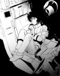 1boy chair expressionless fetal_position floating floating_object gloves gundam kamille_bidan monochrome pilot_suit sakanaokashi short_hair sitting solo spacesuit zeta_gundam