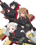 3girls ahoge animal_ears anti-tank_rifle black_hair boys_anti_tank_rifle brown_eyes commentary dog_ears fernandia_malvezzi green_eyes grey_hair gun highres kaneko_(novram58) light_brown_hair long_hair luciana_mazzei machine_gun martina_crespi mg42 multiple_girls open_mouth side_ponytail striker_unit uniform violet_eyes weapon white_background world_witches_series