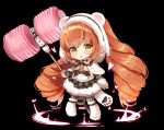 1girl :o animal_ears animal_hood bangs bear_ears bear_hood berrypop black_background black_bow black_jacket black_skirt blush boots bow brown_hair capelet chibi eyebrows_visible_through_hair fake_animal_ears full_body fur-trimmed_capelet fur-trimmed_hood fur-trimmed_skirt fur_boots fur_trim hair_between_eyes heart holding hood hood_up hooded_capelet jacket long_hair long_sleeves looking_at_viewer lumia_saga parted_lips paw_shoes piko_piko_hammer shoes simple_background skirt solo striped striped_legwear twintails vertical-striped_legwear vertical_stripes very_long_hair white_capelet yellow_eyes