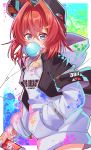 1girl absurdres alternate_costume ange_katrina baseball_cap blue_eyes bubble_blowing can destiny549-2 flat_chest hand_in_pocket hat highres holding holding_can hood hoodie looking_at_viewer nijisanji redhead short_hair solo spray_can triangle_hair_ornament virtual_youtuber white_hoodie