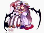 2girls bat_wings blue_bow blue_hair blue_ribbon bow closed_eyes commentary_request crescent crescent_moon_pin damenaito dress full_body grey_background hair_bow hat hat_ribbon hug hug_from_behind long_hair long_sleeves mob_cap multiple_girls patchouli_knowledge pink_dress pink_headwear purple_dress purple_hair red_bow red_ribbon remilia_scarlet ribbon short_hair short_sleeves simple_background striped striped_dress touhou wings