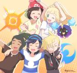 2girls 3boys :d arm_around_shoulder artist_name baseball_cap beanie blonde_hair bracelet brown_hair brown_shirt clenched_hands closed_eyes cosmog ear_piercing elio_(pokemon) eyelashes floating_hair gen_7_pokemon gladion_(pokemon) gotcha! green_eyes green_hair hat hau_(pokemon) highres jewelry legendary_pokemon lillie_(pokemon) long_hair mei_(maysroom) multiple_boys multiple_girls one_eye_closed open_mouth piercing pokemon pokemon_(creature) pokemon_(game) pokemon_sm red_headwear selene_(pokemon) shirt short_sleeves smile teeth tongue watermark