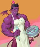 1boy alejandro_tio apron baking bara black_hair bulge cake chest chest_hair cowboy_shot demon_boy demon_horns demon_tail demon_wings food food_on_body food_on_face highres holding holding_cake holding_food horns looking_at_viewer male_focus muscle naked_apron nipple_slip nipples original pink_skin pointy_ears short_hair simple_background smile solo tail thighs wings