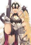 2girls armor armored_dress bangs bikuwa blonde_hair blush breasts closed_eyes elbow_gloves fate/apocrypha fate/grand_order fate_(series) faulds gloves headpiece highres hug jeanne_d'arc_(alter)_(fate) jeanne_d'arc_(fate) jeanne_d'arc_(fate)_(all) large_breasts leg_lift leg_up long_hair looking_at_viewer multiple_girls open_mouth plackart silver_hair smile split standing standing_on_one_leg standing_split thigh-highs very_long_hair yellow_eyes