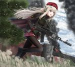 1girl absurdres ak-74m ak-74m_(girls_frontline)_(rabochicken) assault_rifle barrette beret black_footwear black_jacket black_legwear blonde_hair blue_eyes boots breasts camouflage_gloves cloak eyebrows_visible_through_hair girls_frontline gloves gun hair_ornament hat headphones highres holding holding_weapon jacket long_hair looking_away open_mouth original pantyhose red_skirt rifle running skirt snowflake_hair_ornament solo uniform weapon yakob_labo