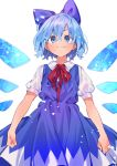 1girl akagashi_hagane blouse blue_bow blue_dress blue_eyes blue_hair blush bow cirno clenched_hands closed_mouth collared_shirt commentary doyagao dress dress_shirt hair_bow ice ice_wings lens_flare neck_ribbon puffy_short_sleeves puffy_sleeves rainbow_gradient red_neckwear red_ribbon ribbon shirt short_hair short_sleeves simple_background smug solo touhou v-shaped_eyebrows white_background white_blouse white_shirt wing_collar wings