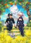 1boy 1girl black_gloves black_hair blurry_foreground boots clouds falling_petals fate/grand_order fate_(series) flower fou_(fate/grand_order) fujimaru_ritsuka_(male) gloves highres holding_hands mash_kyrielight ortenaus petals purple_hair sitting sitting_on_stairs smile stairs tamayai tree