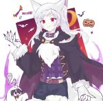 07fera 1girl animal_ears aura belt candy closed_mouth dark_aura fake_animal_ears fire_emblem fire_emblem_awakening fire_emblem_heroes food gloves grima_(fire_emblem) halloween_costume long_hair long_sleeves paw_gloves paws red_eyes robin_(fire_emblem) robin_(fire_emblem)_(female) simple_background smile solo_focus twintails white_background white_hair wolf_ears