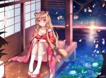 1girl absurdres animal_ears breasts brown_hair cherry_blossoms closed_mouth dahe_zhuang_(yishi_fanhua) flower hair_flower hair_ornament highres japanese_clothes large_breasts lily_pad looking_at_viewer raccoon_ears raccoon_tail raphtalia sandals sitting smile solo tail tate_no_yuusha_no_nariagari water