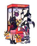 1boy 1girl backpack bag bike_shorts black_footwear black_hair black_jacket brother_and_sister chueog crane_game dress gen_8_pokemon hair_ribbon highres jacket long_hair marnie_(pokemon) morpeko morpeko_(full) morpeko_(hangry) multicolored_hair number piers_(pokemon) pink_dress pokemon pokemon_(creature) pokemon_(game) pokemon_swsh red_ribbon ribbon shoes shopping_bag siblings standing tied_hair two-tone_hair watermark