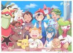2girls 4boys artist_name ash_ketchum bangs baseball_cap black_hair blue_eyes blue_hair blush_stickers brown_eyes brown_hair closed_eyes clouds commentary_request cup dark_skin dark_skinned_male day eevee fist_bump flower fork freckles gen_1_pokemon gen_4_pokemon gen_7_pokemon gen_8_pokemon goh_(pokemon) green_eyes green_hair hair_flower hair_ornament hairband hashtag hat highres holding holding_pokemon jacket jewelry kiawe_(pokemon) lana_(pokemon) looking_at_viewer looking_back mallow_(pokemon) mei_(maysroom) multiple_boys multiple_girls necklace number open_mouth orange_hair pikachu plate pokemon pokemon_(anime) pokemon_(creature) pokemon_on_back pokemon_swsh_(anime) raboot rotom rotom_dex scarf shirt shirtless short_sleeves sky smile sobble sophocles_(pokemon) starter_pokemon teeth togedemaru tongue tsareena turtonator watermark white_shirt