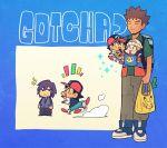 1girl 3boys ash_ketchum backpack bag brock_(pokemon) brown_hair chibi closed_mouth commentary_request copyright_name dawn_(pokemon) dododo_dadada gotcha! green_shirt holding holding_bag jacket long_sleeves motion_lines multiple_boys pants paul_(pokemon) pokemon pokemon_(anime) pokemon_dppt_(anime) purple_hair shirt shoes shopping_bag short_sleeves spring_onion