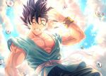1boy ^_^ abs arm_at_side backlighting black_hair blue_sky blurry bokeh clenched_teeth closed_eyes closed_mouth clouds cloudy_sky commentary_request day depth_of_field dougi dragon_ball dragon_ball_z facing_viewer floating from_below grin hand_up lens_flare light_particles light_rays male_focus mattari_illust messy_hair muscle outdoors pants pectorals sky smile son_gokuu sun sunlight teeth twitter_username water_drop waving wristband
