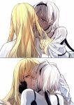 1boy 1girl black_gloves blonde_hair blue_eyes caenis_(fate) dark_skin fate/grand_order fate_(series) fingerless_gloves gloves hand_on_another's_cheek hand_on_another's_face hetero kirschtaria_wodime kiss long_hair multiple_views short_hair simple_background tsengyun violet_eyes white_background white_feathers white_gloves white_hair