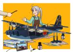 1girl ahoge aircraft airplane akitsushima_(kantai_collection) alternate_color apron bird border brown_apron collared_shirt commentary dress_shirt flying_boat green_shirt h8k holding kantai_collection long_hair long_sleeves model_airplane model_kit newspaper nishikitaitei-chan open_mouth orange_background outside_border paintbrush seagull seaplane shirt side_ponytail sidelocks silver_hair simple_background tablet_pc taigei_(jmsdf) tamiya_incorporated timmyyen violet_eyes white_border