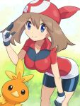 1girl bangs bike_shorts blue_eyes breasts brown_hair closed_mouth commentary_request eyelashes gen_3_pokemon gloves hair_between_eyes hand_on_own_knee hand_up highres leaning_forward looking_at_viewer may_(pokemon) pokemoa pokemon pokemon_(anime) pokemon_(creature) pokemon_rse_(anime) red_bandana red_shirt shirt short_sleeves smile starter_pokemon torchic