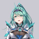 1girl bangs breasts chest_jewel earrings green_eyes green_hair grey_background highres jewelry large_breasts long_hair long_ponytail open_mouth pneuma_(xenoblade) ponytail sarasadou_dan simple_background smile solo swept_bangs tiara upper_body xenoblade_chronicles_(series) xenoblade_chronicles_2